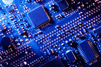 Top view of a blue printed circuit board