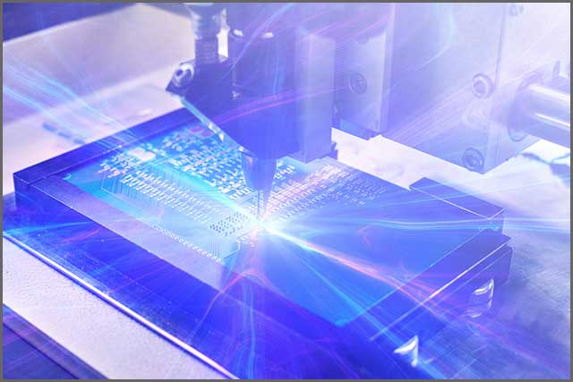A futuristic photo of manufacturing a printed circuit board