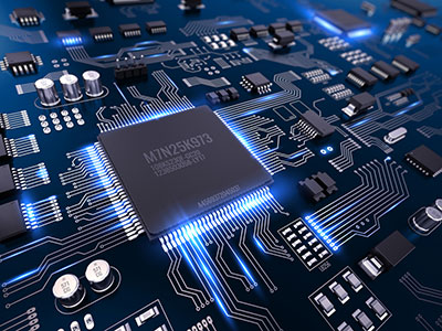 A processor chip with various peripherals like flash, ADCs, DACs etc