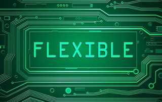"A printed circuit board with the letters ""flexible"" on it"