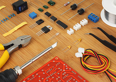 Electronic components, circuit board and hand tools for electronics assembly