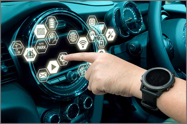 An illustration of a smart vehicle interface.