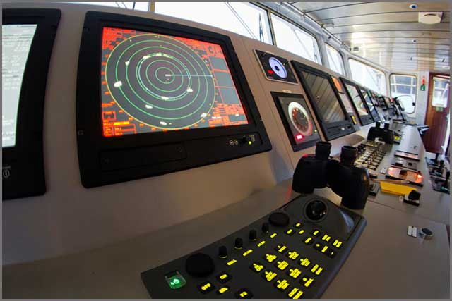 An image of a sea vessel dashboard