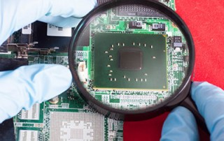 A magnifier giving a PCB close up