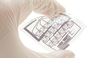 Flexible printed circuit board held by a human hand