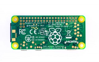 A Raspberry Pi board with Logo Art on the back