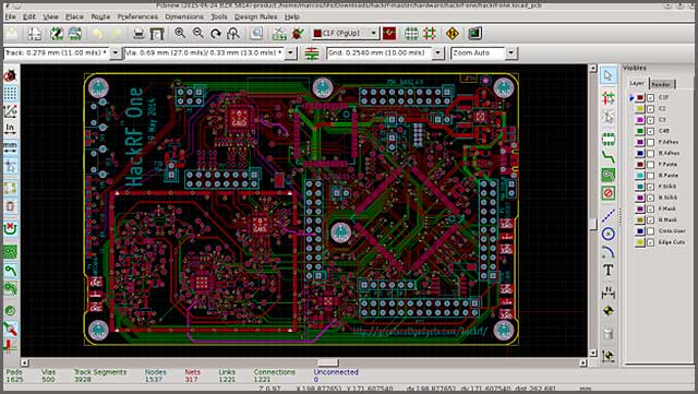 An image of the KiCad software with all the images for PCB design