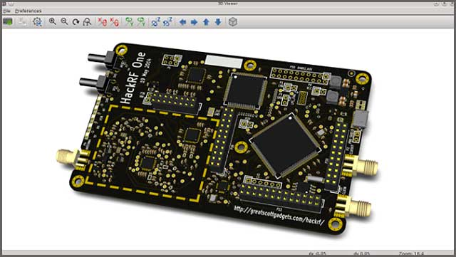 An image of the 3D feature of the KiCad software