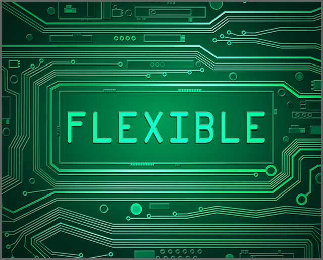 "A printed circuit board illustration with ""flexible"" written over it"