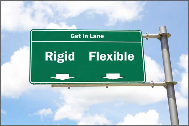 A sign showing two lanes – rigid and flexible
