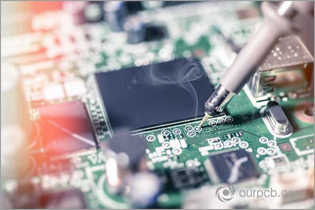 PCB soldering. Solder flags on a PCB indicate reduced flux application