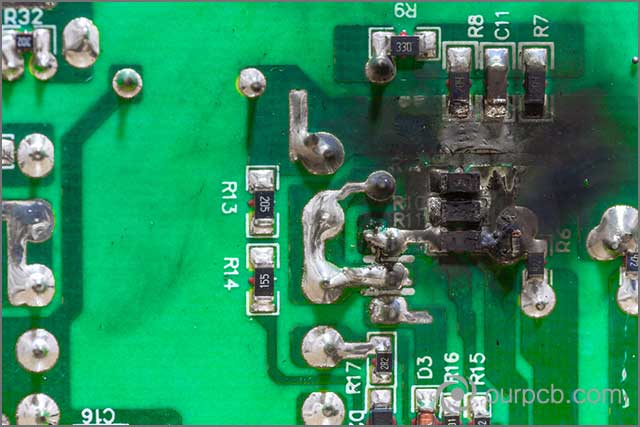 It shows a heated LED PCB assembly due to short circuit