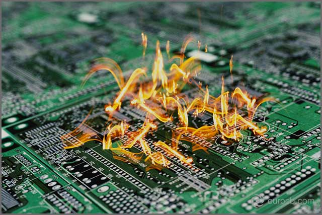 PCB on fire