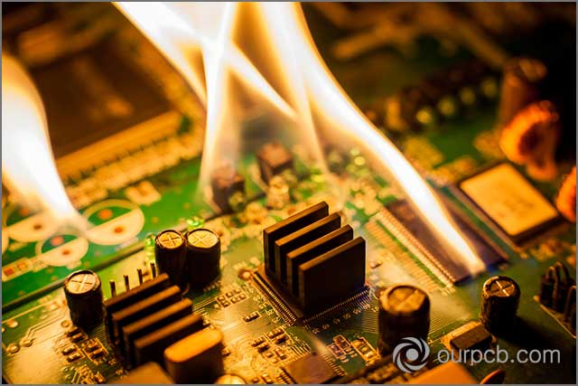 It shows an actual fire due to short circuit in the LED PCB assembly