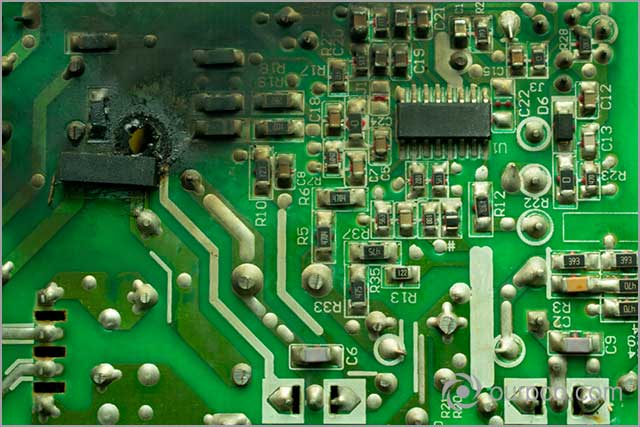 Burnt PCB board due to overheating during PCB soldering