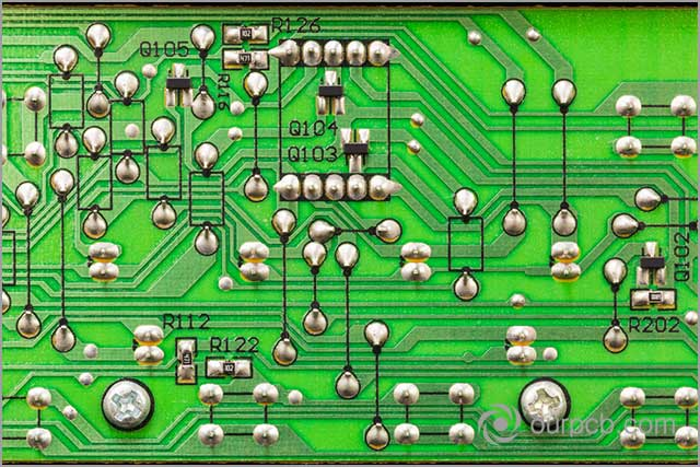Surface mount device of a PCB. Pads need to be even before PCB soldering