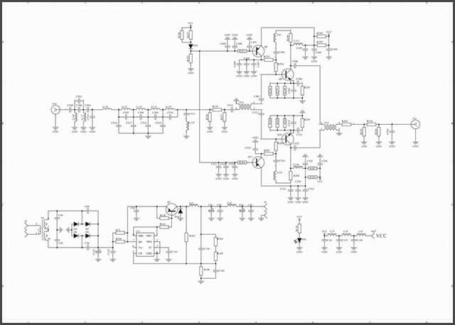 It shows a circuit schematic with lots of components