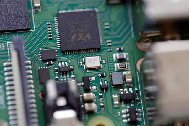 a typical PCB board shot in up-close