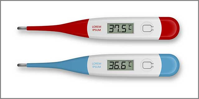 It shows the digital display of a digital thermometer