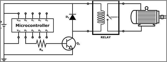 Relay and Transistor interfacing a connection between microcontroller and a DC motor