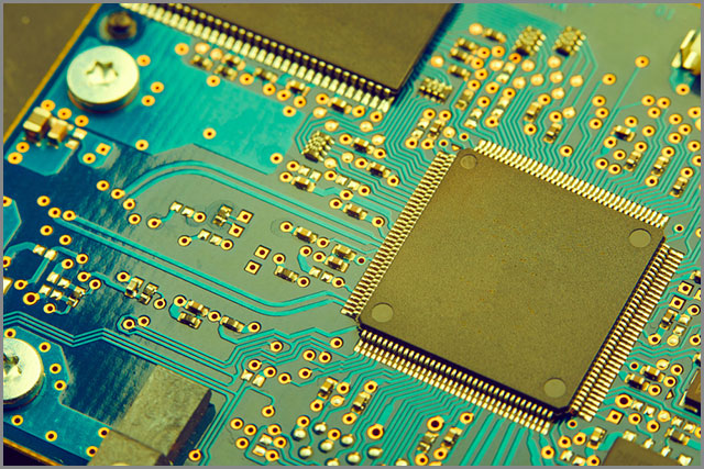A close-up on use of a PCB In a motherboard