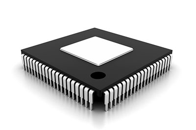 An IC on an isolated white background