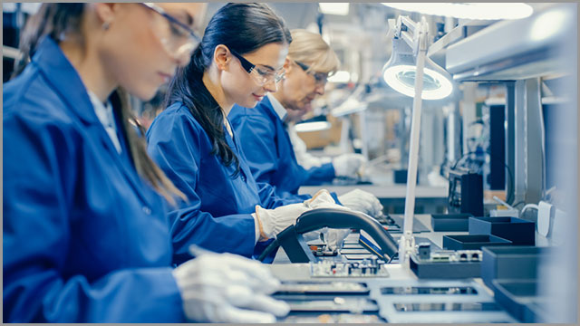 workers in an electronics manufacturing firm