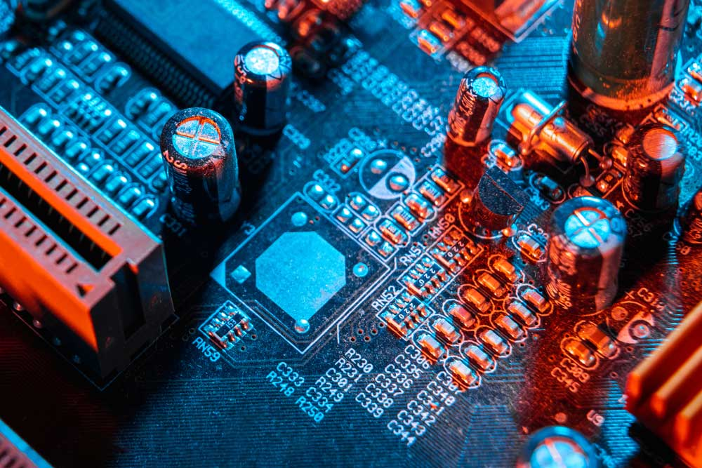 Capacitors on a circuit board