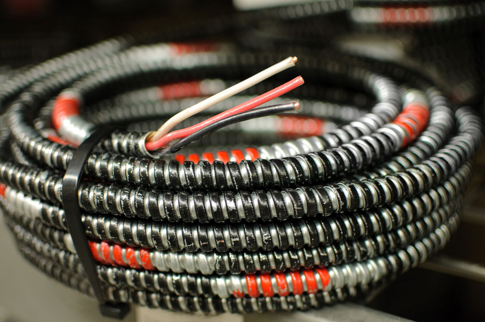 A coil of Copper clad used for electric cable