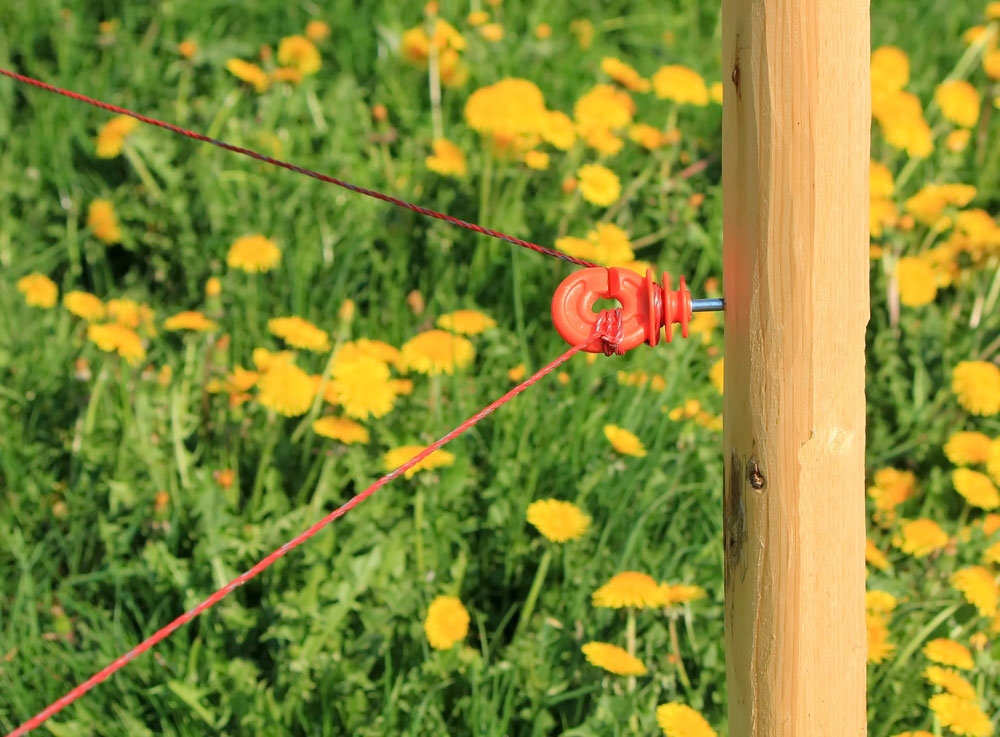 an agricultural electric fence with a plastic insulator