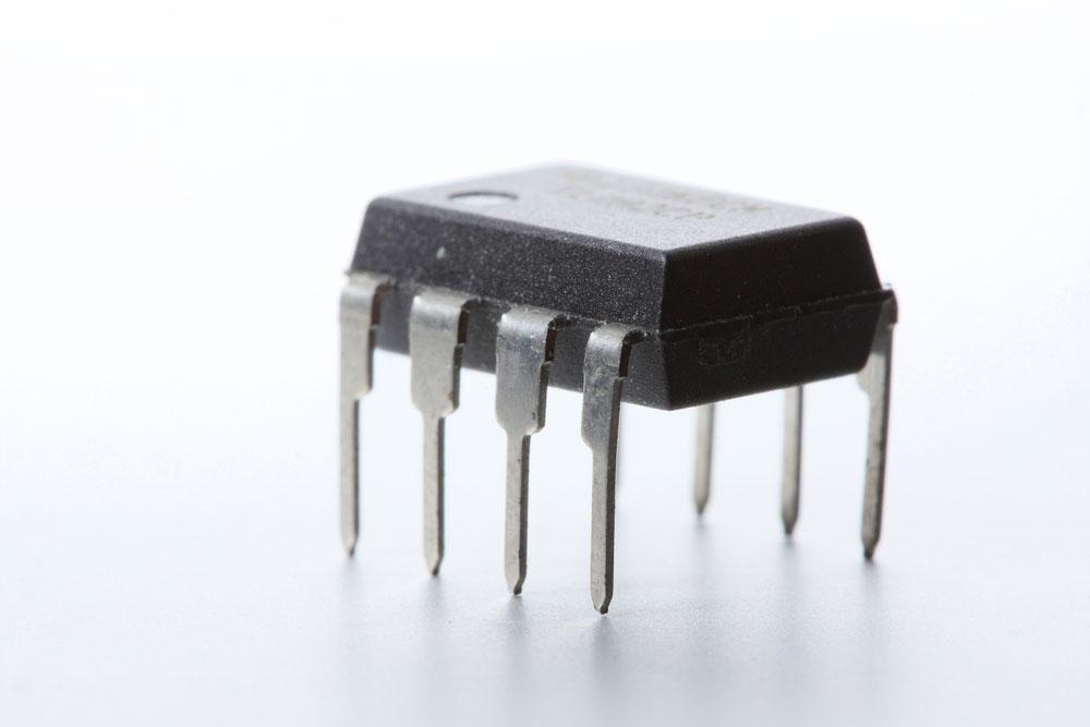 An eight-pin operational amplifier