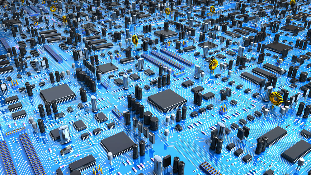 A 3D illustration of a circuit board